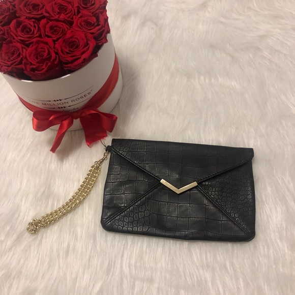 Black faux leather express clutch